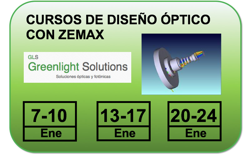 Cursos de formación de diseño óptico con Zemax de GLS