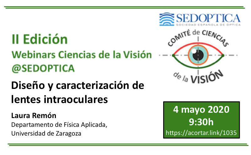 Webinar Ciencias de la Visión: DISEÑO Y CARACTERIZACIÓN DE LENTES INTRAOCULARES