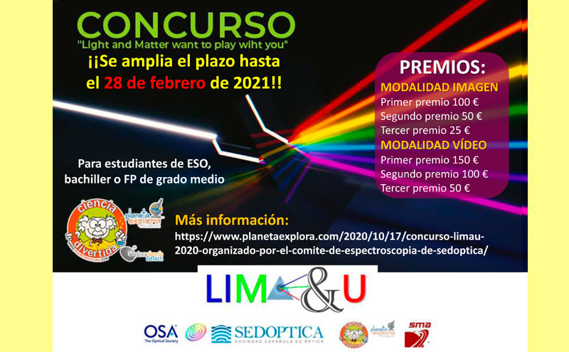 Concurso LIMA&U 2020 organizado por el Comité de Espectroscopía de SEDOPTICA